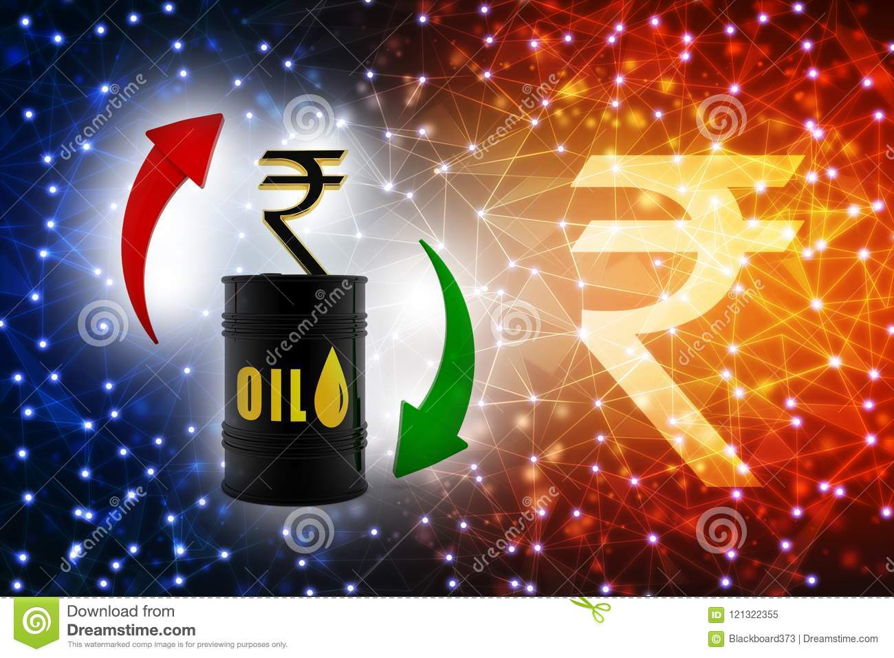 Oil Industry Concept With Barrel And Indian Rupee Oil Price Market