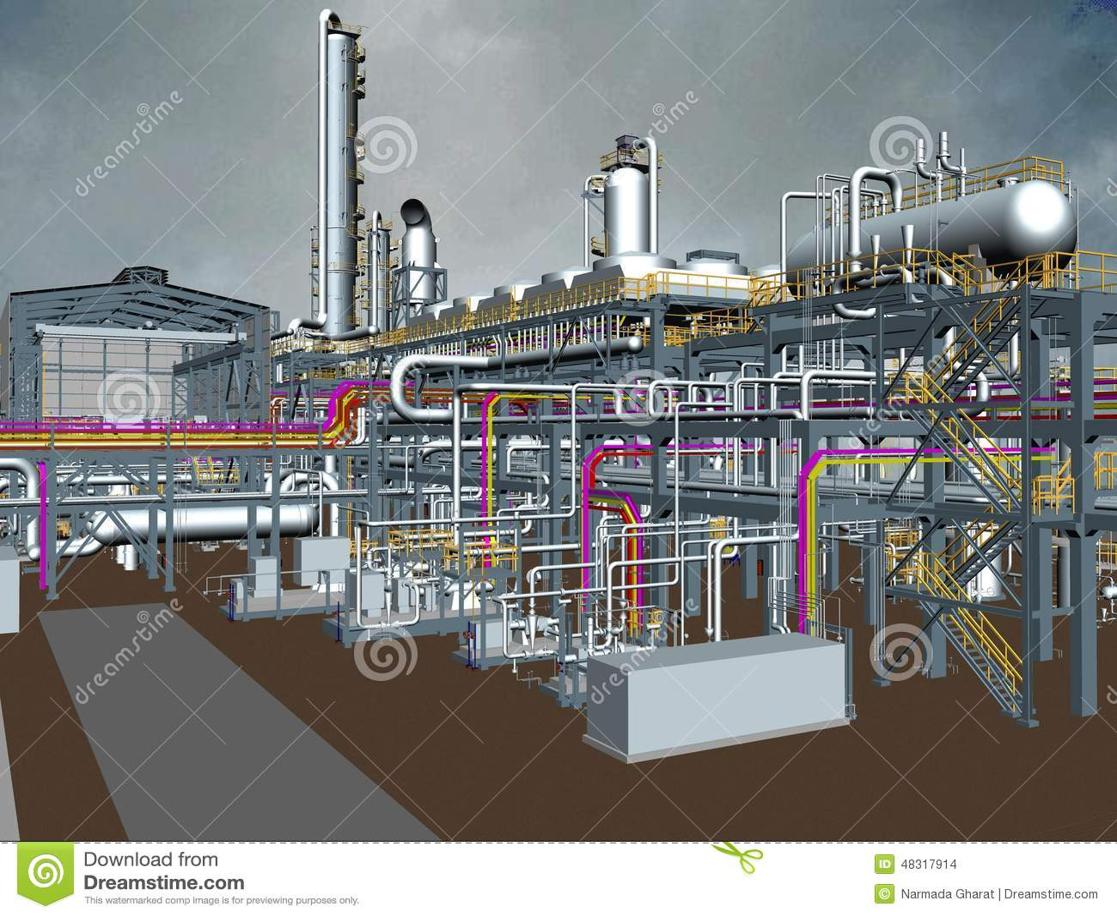 Oil Gas Plant 3d Model Design Stock Photo Image 48317914