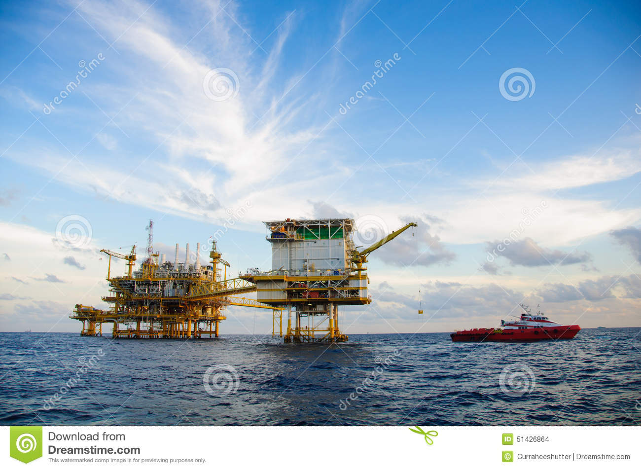 Oil and gas platform in the gulf or the sea, Offshore oil and rig construction, Energy business