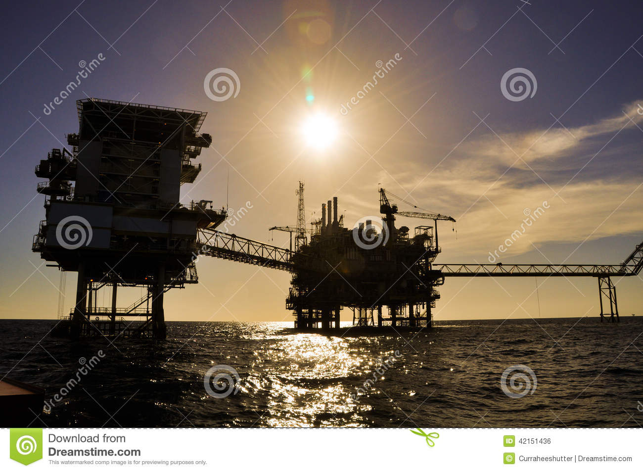 Oil and gas platform in the gulf or the sea, The world energy, Offshore oil and rig construction Platform for production