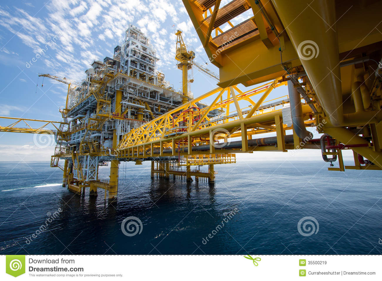 Oil and gas platform in offshore