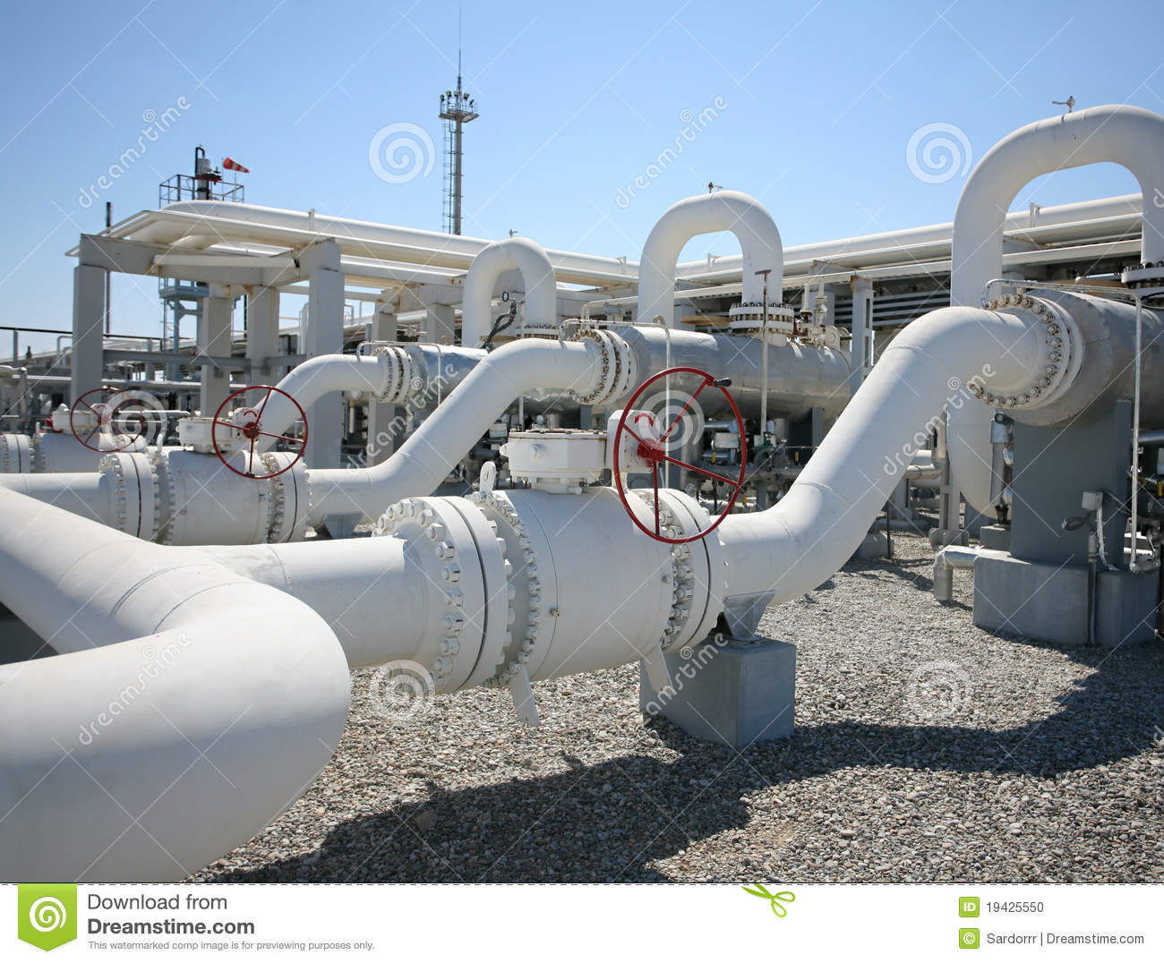 Gas Pipeline Pipe : Oil gas processing plant pipe line valves stock photo