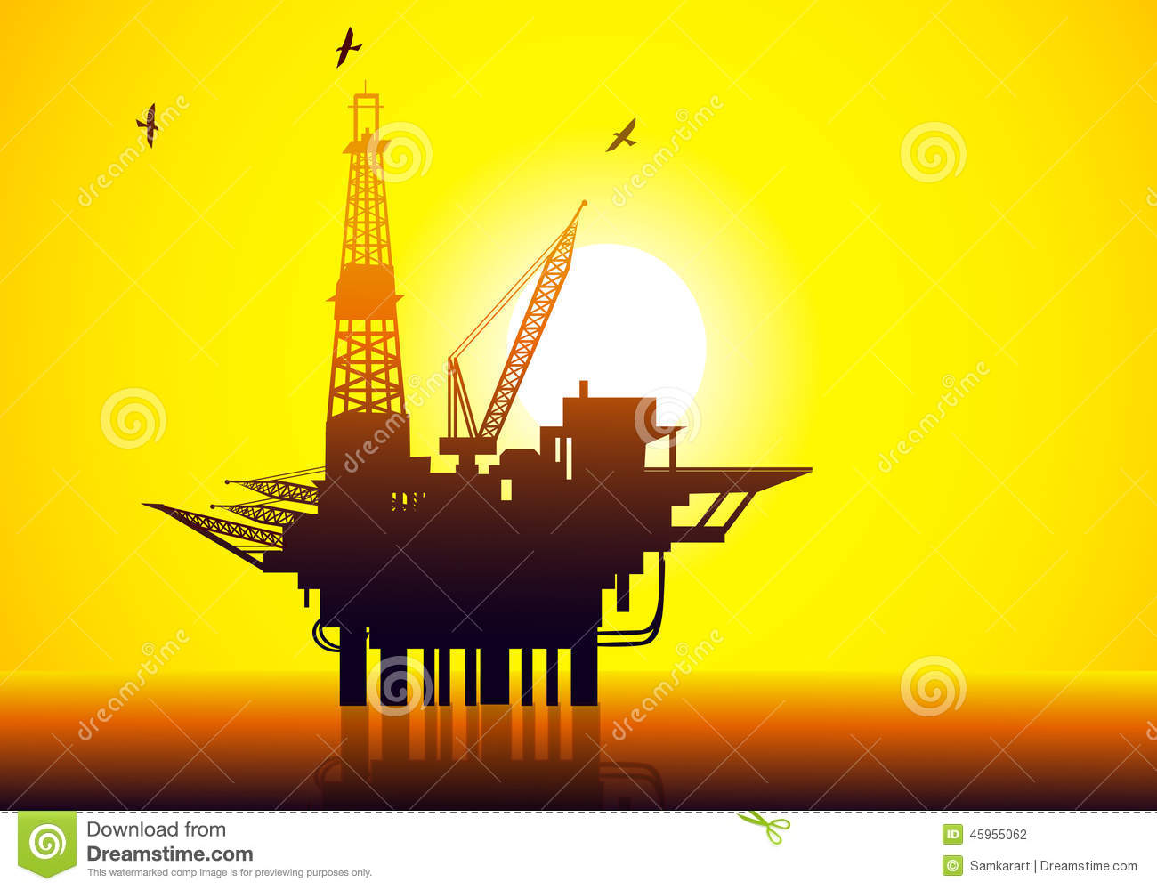 Oil Amp Gas Refinery Vector Stock Vector Image 45955062