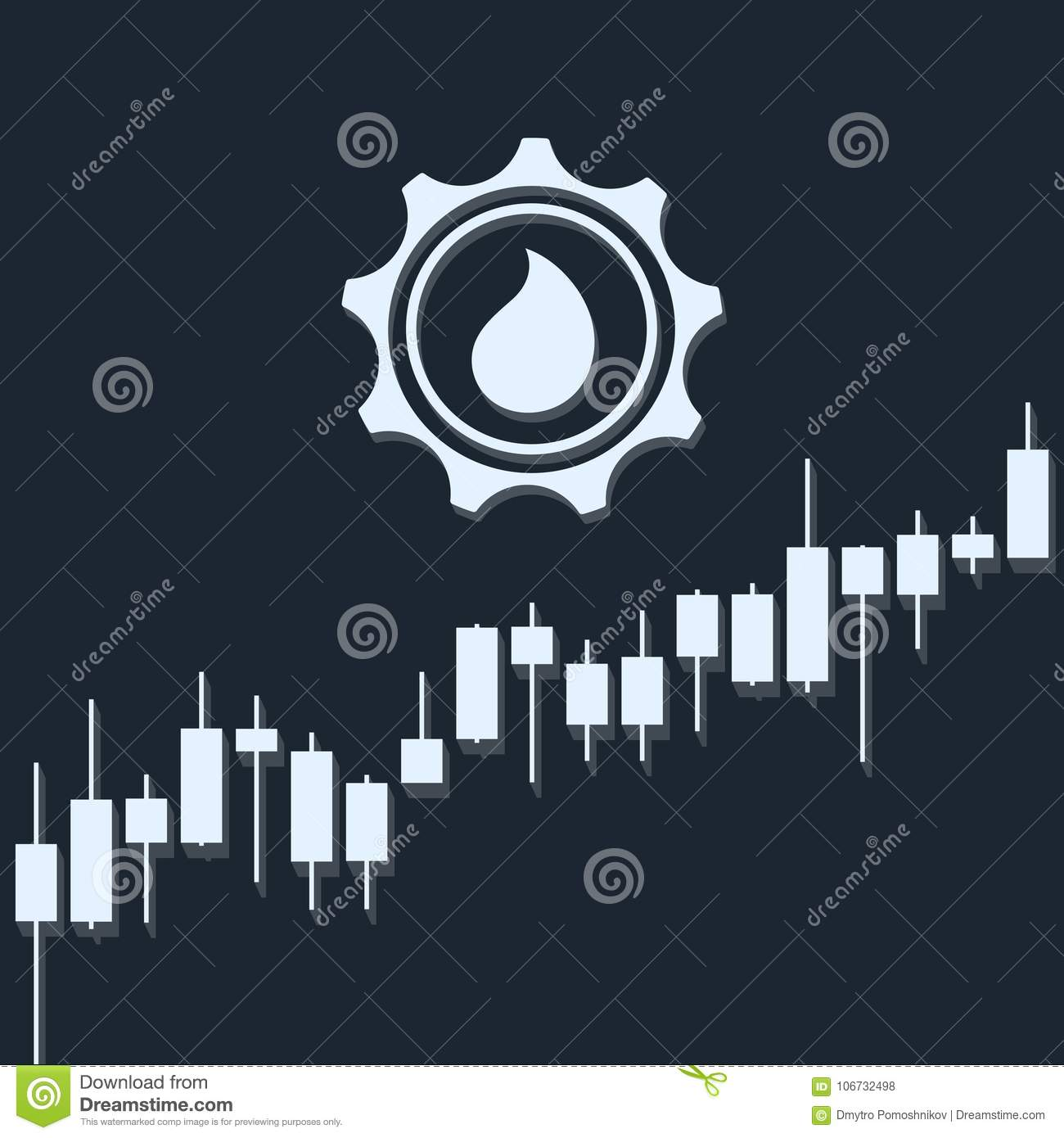 Oil Growth With Market Chart And Long Shadows 3d Illustration Stock