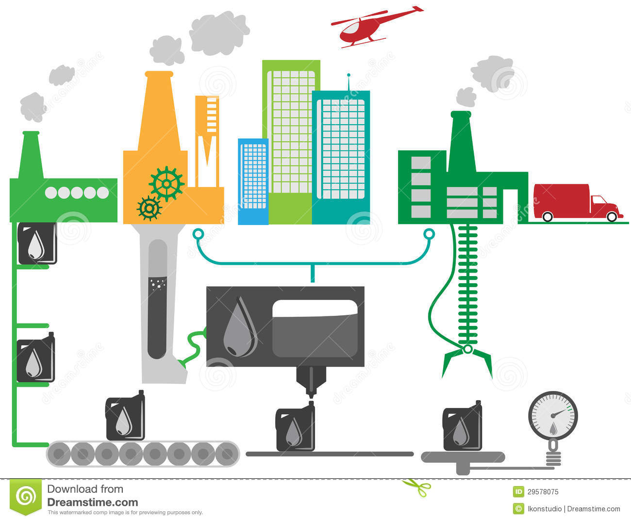 Oil Industrial Factory Schematic Illustration Stock Vector ...