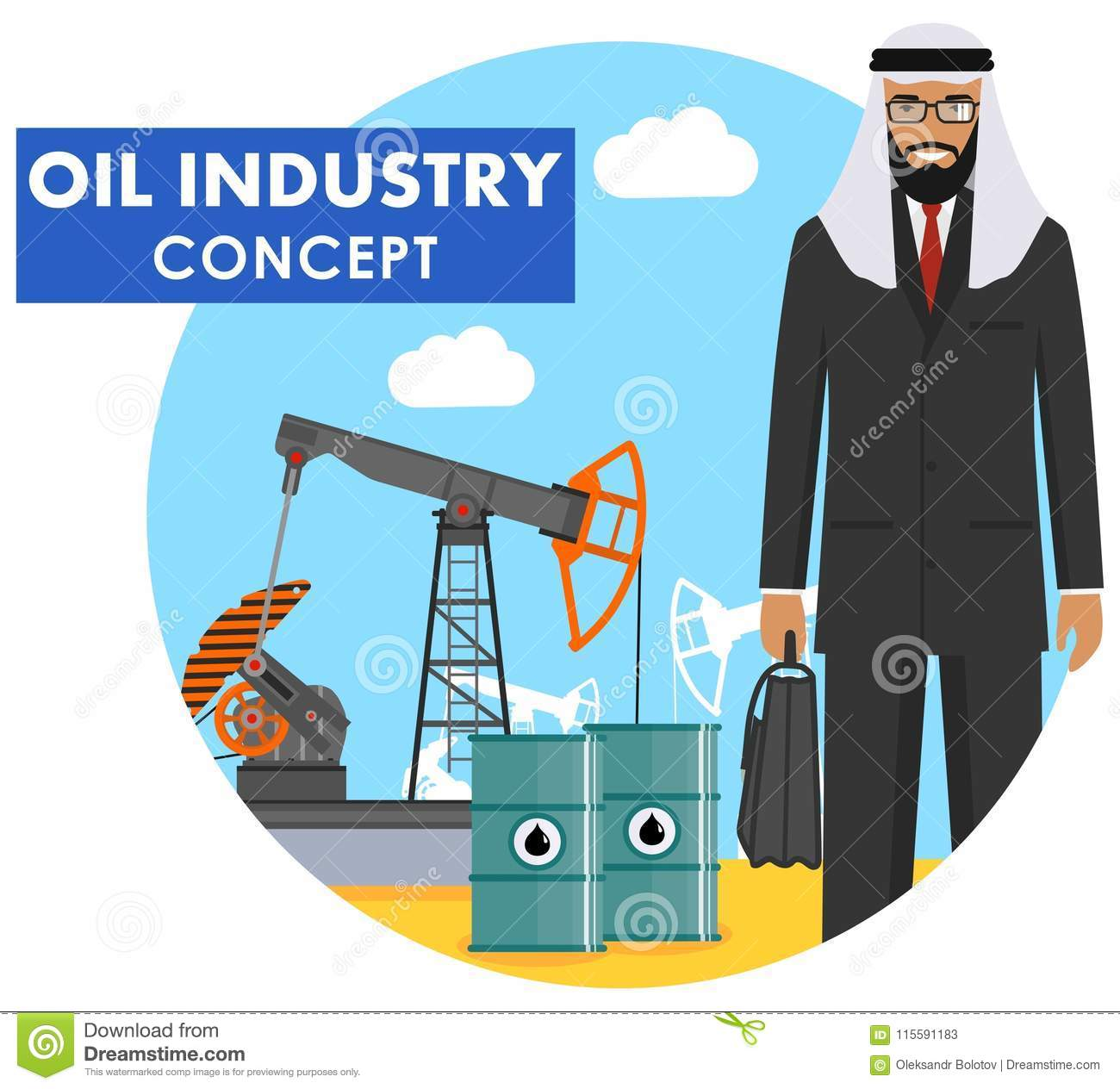 Oil industry concept. Detailed illustration of arab muslim businessman on background with oil pump and metal barrels