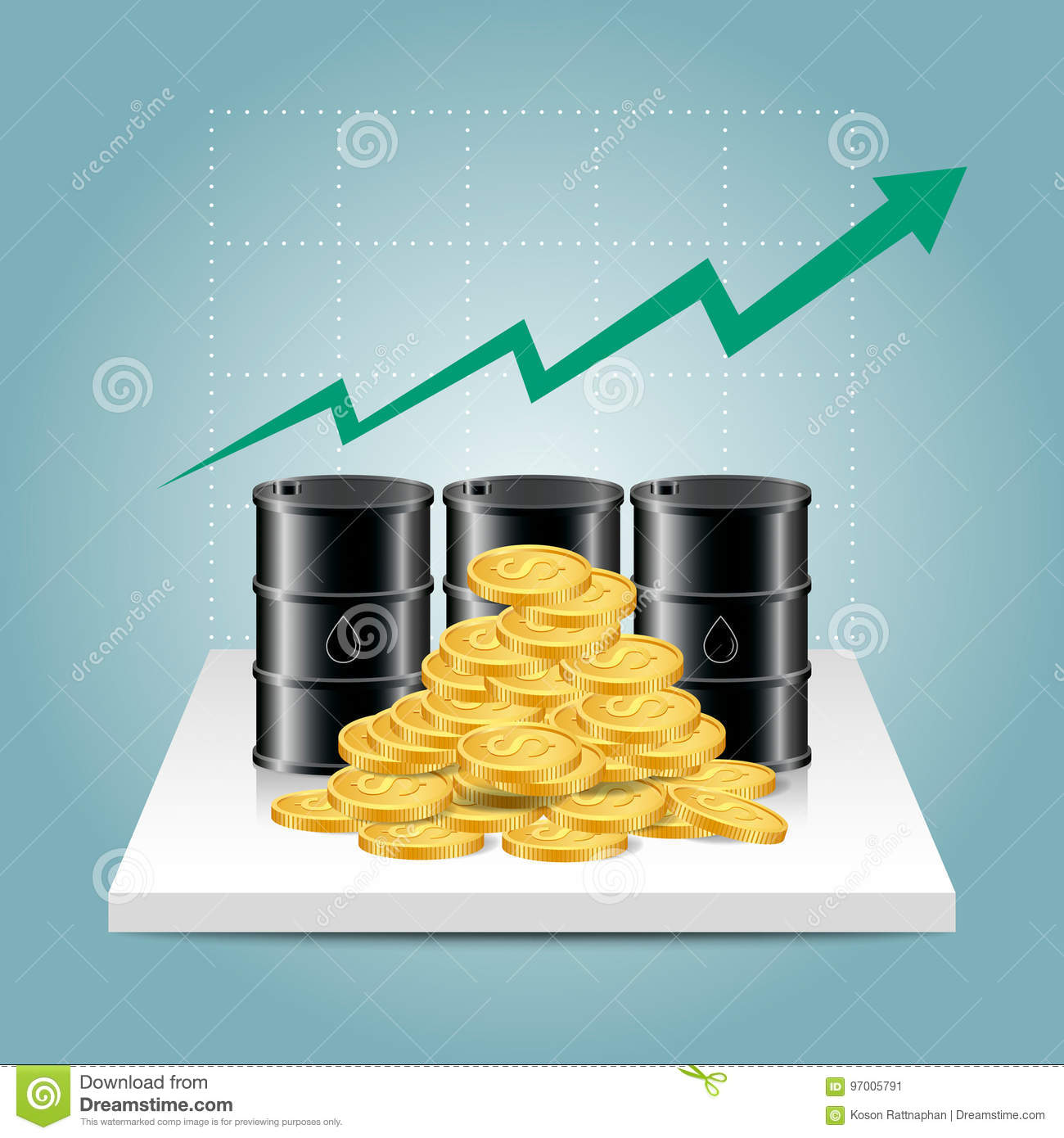 Oil Stock Quote: Oil Industry Concept. Oil Price Growing Up Graph With Oil