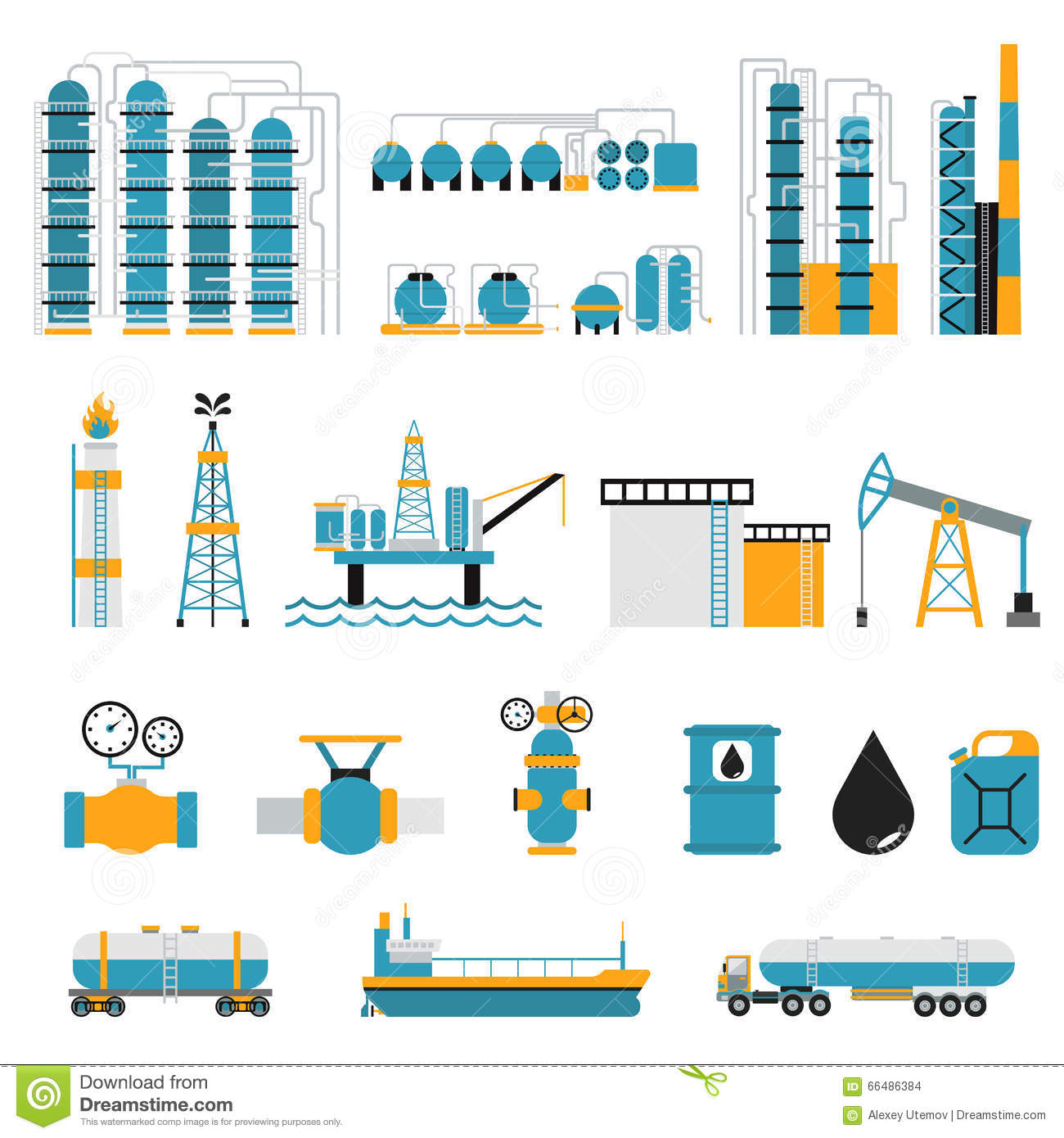 oil industry flat style vector symbols stock vector