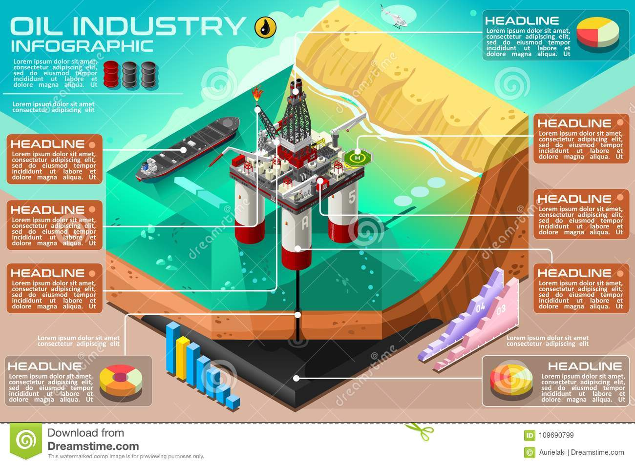Vector Rig Oil Infographic Gasoline