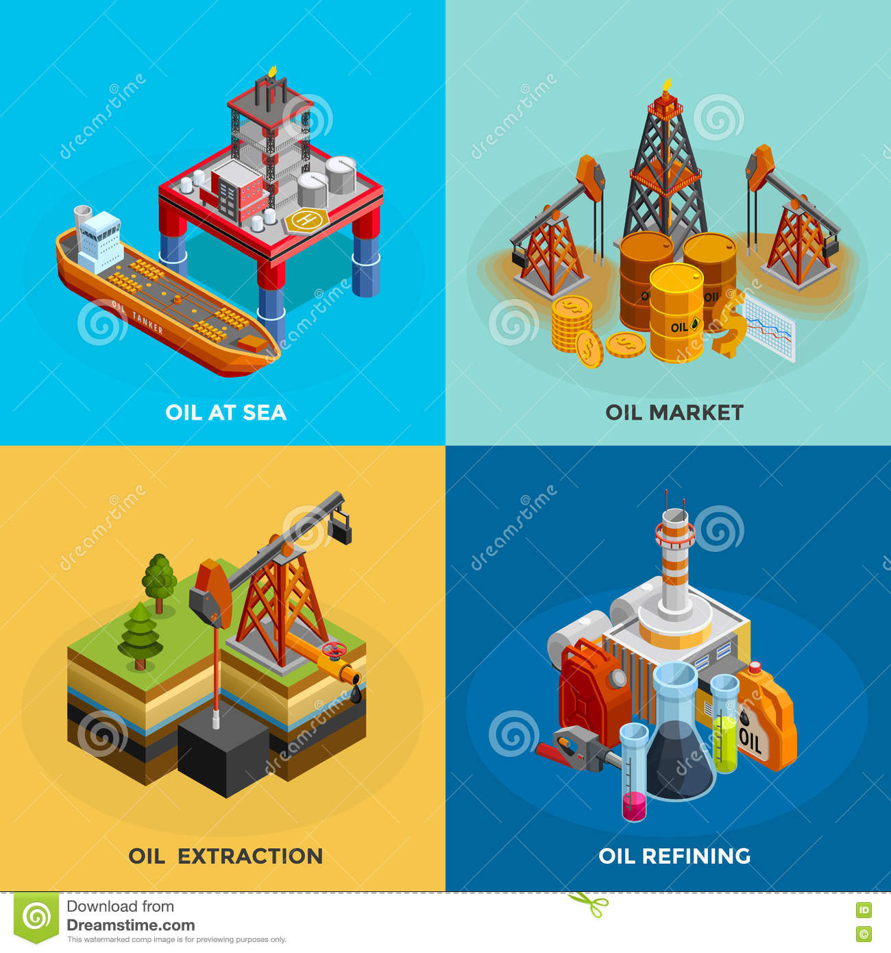 Oil Industry Isometric 4 Icons Square Stock Vector Illustration Of