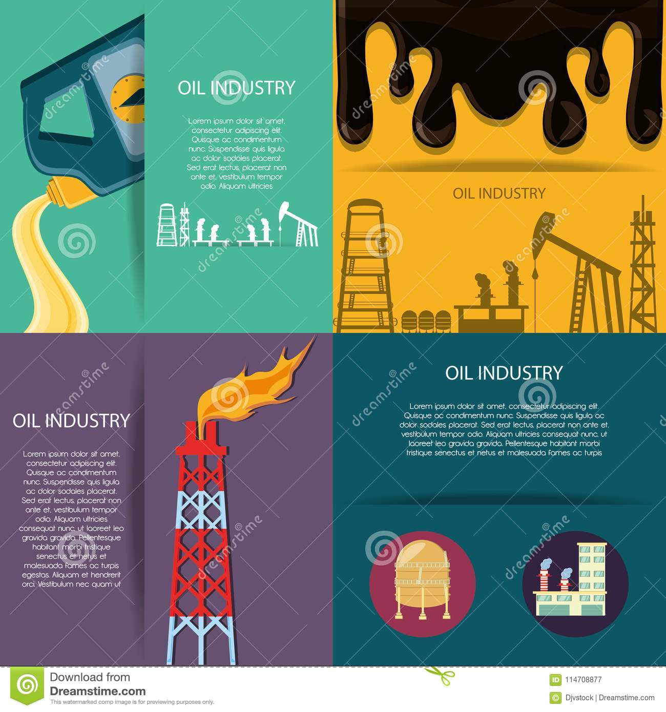 Oil Industry With Refinery Plant Stock Vector