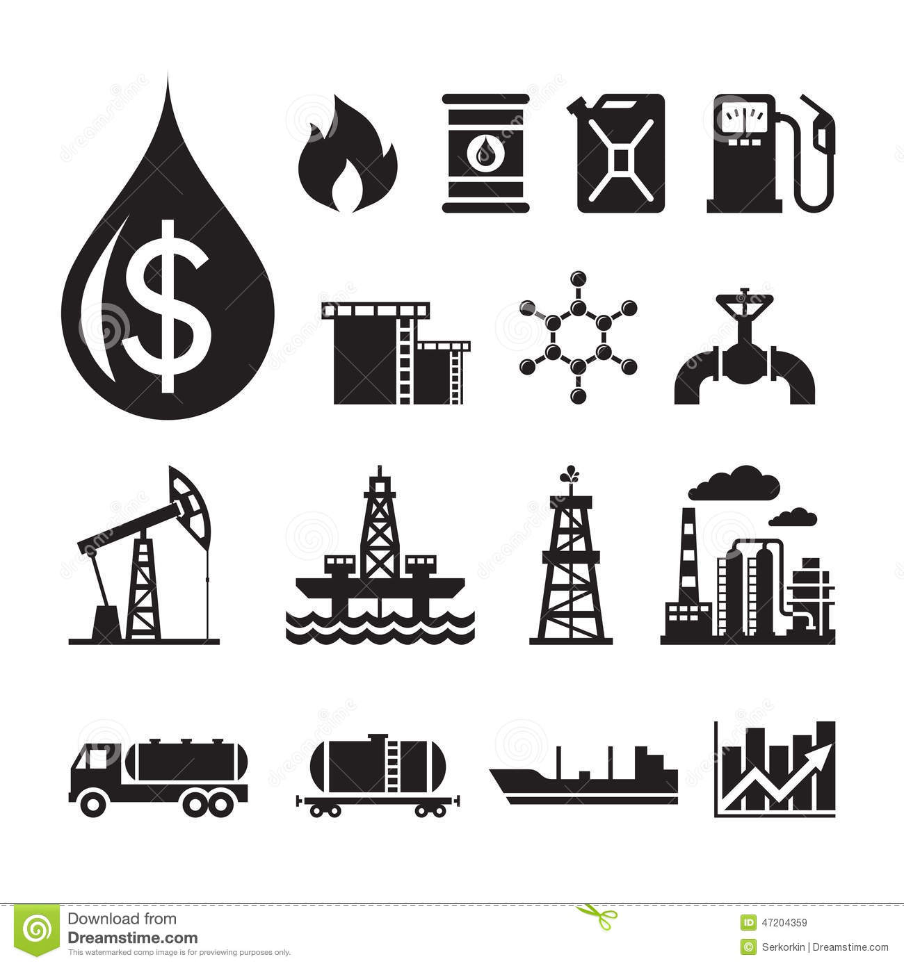 16 oil industry vector icons for infographic  business presentation  booklet and different