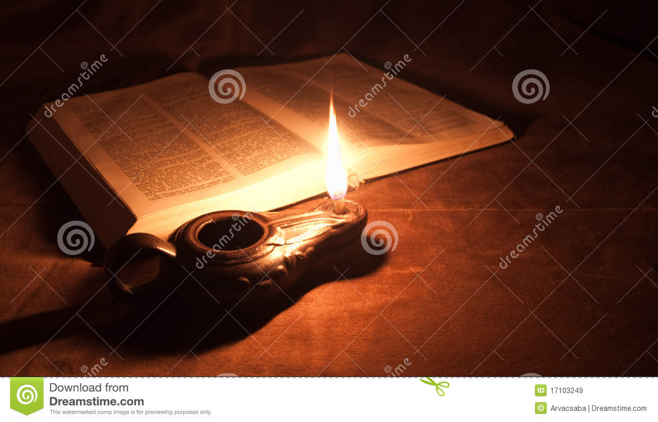 Oil lamp and Bible stock image. Image of hope, historic ...