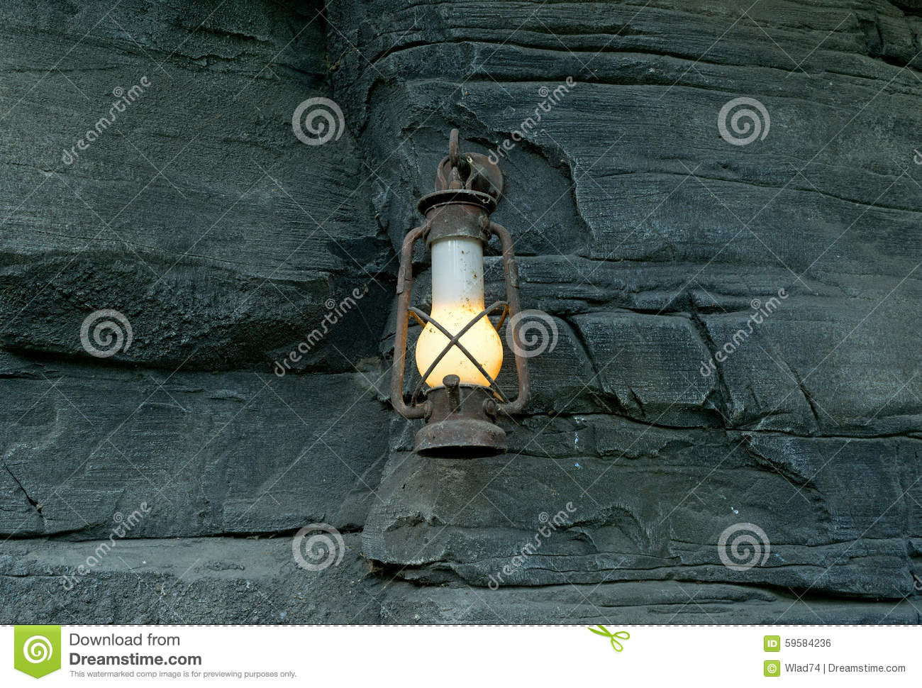 Oil lamp in the old mine stock photo  Image of beam, mine