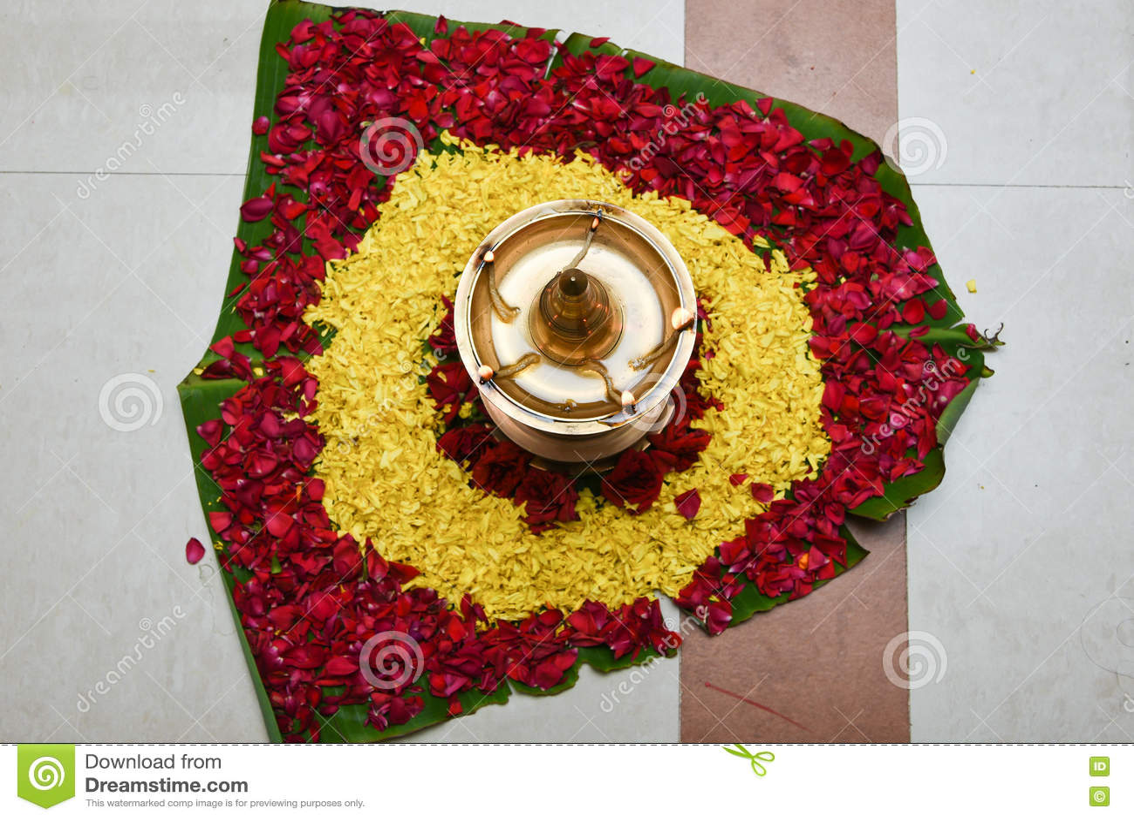 Oil Lamp For Onam Festival Kerala India Stock Image - Image