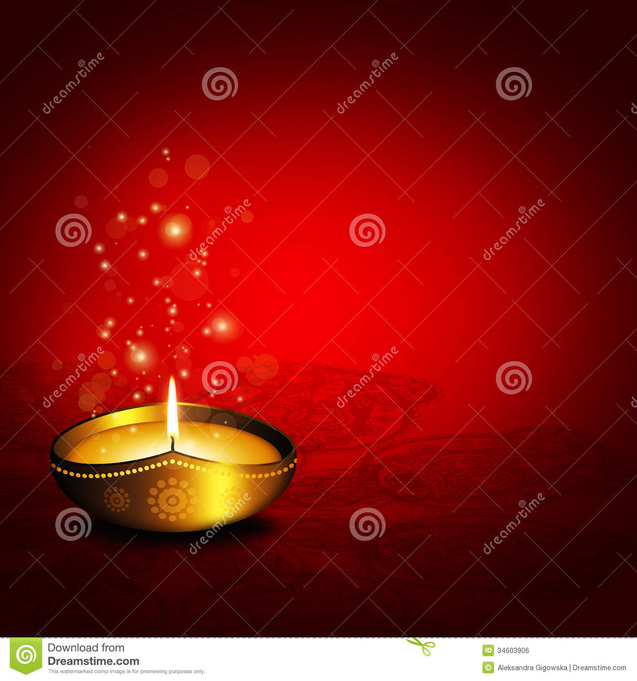 Oil Lamp With Plac For Diwali Greetings Over Dark Background Stock