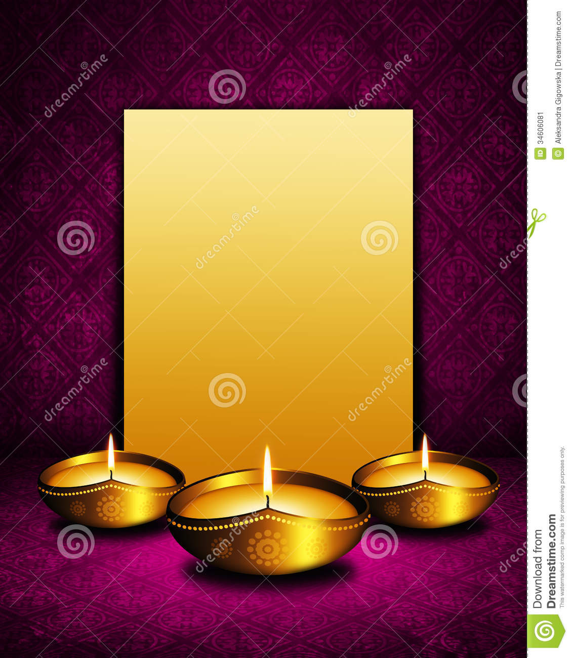 Oil Lamp With Place For Diwali Greetings Over Dark Background Stock