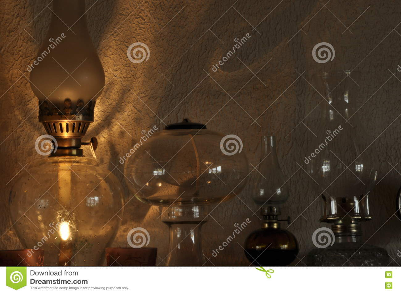 Oil Lamps Ornament On The Mantelpiece Light Source Stock Image