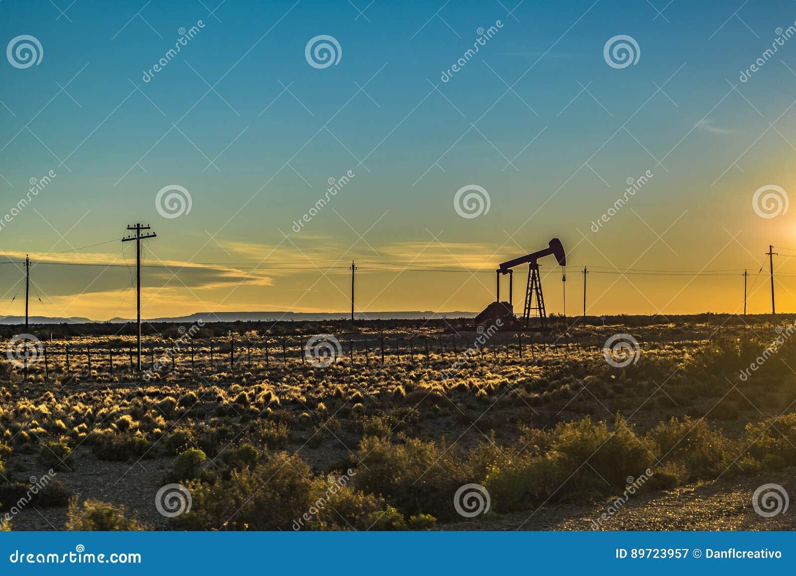 Oil Machine at Patagonian Landscape, Santa Cruz ,Argentina