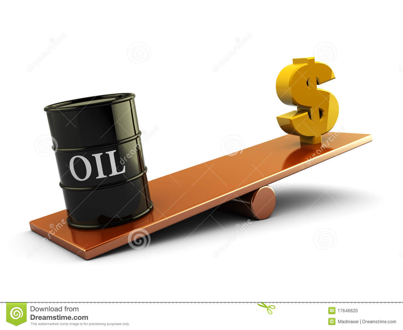 3d illustration of oil barrel and money sign on scale board.