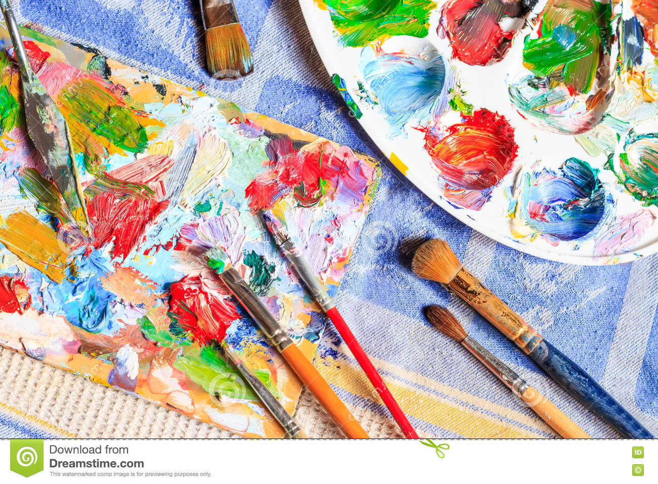 Oil Paint Different Types Of Brushes And Palette Stock