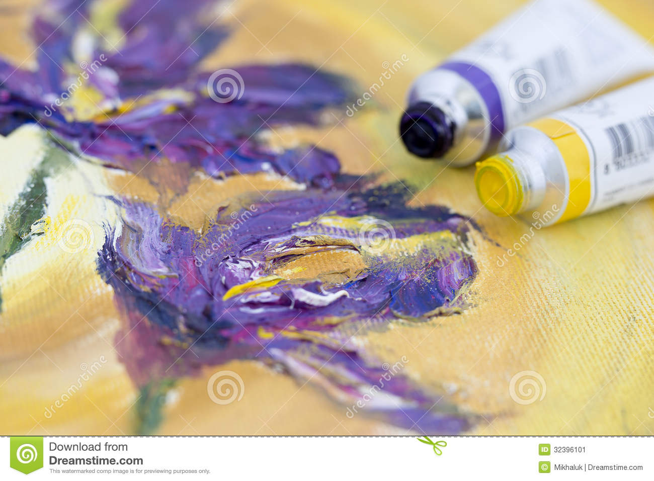 Oil paint tubes stock image image 32396101 for Purple and yellow painting