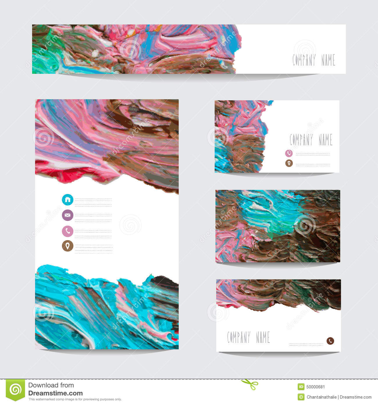 Oil painted business cards stock vector. Image of frame - 50000681
