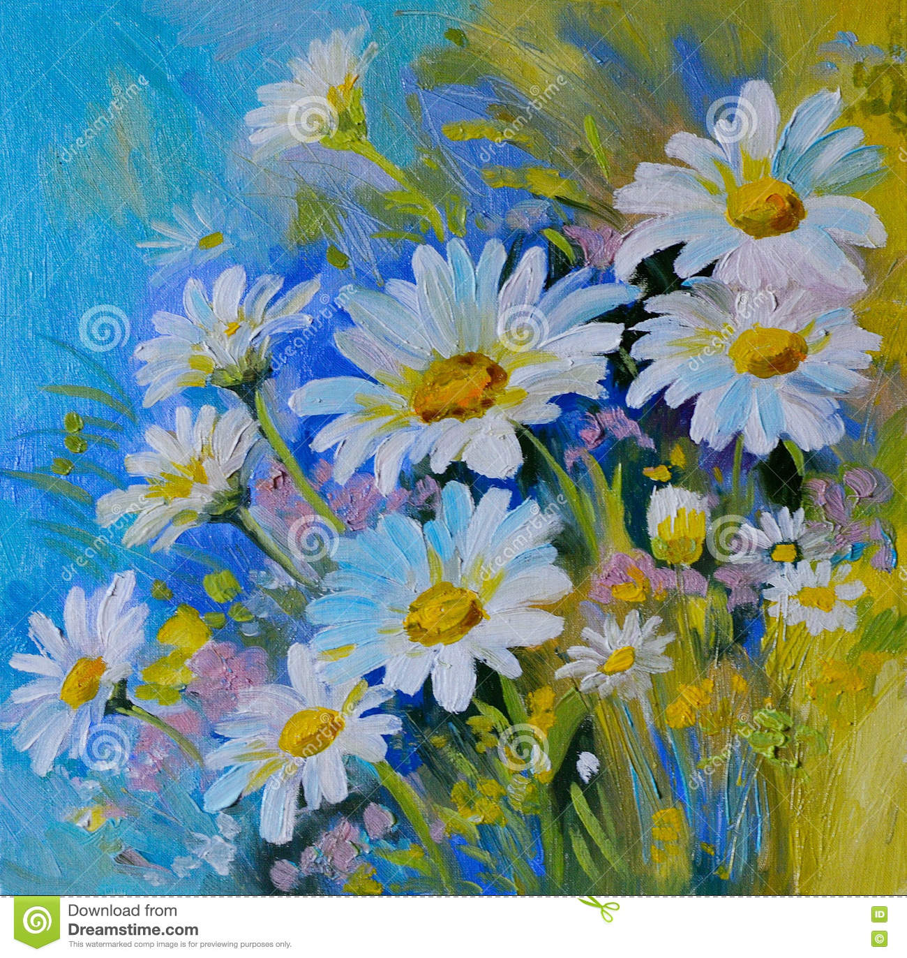 Oil painting abstract illustration of flowers daisies greens download oil painting abstract illustration of flowers daisies greens stock illustration illustration izmirmasajfo