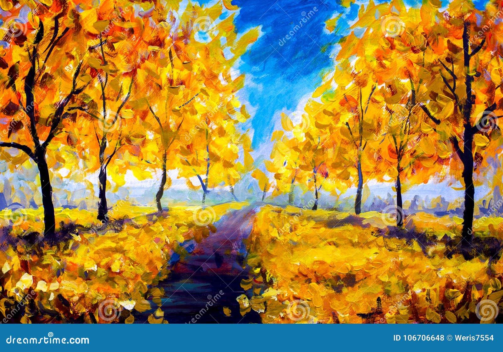 Oil Painting - autumn, yellow foliage, park, autumn trees