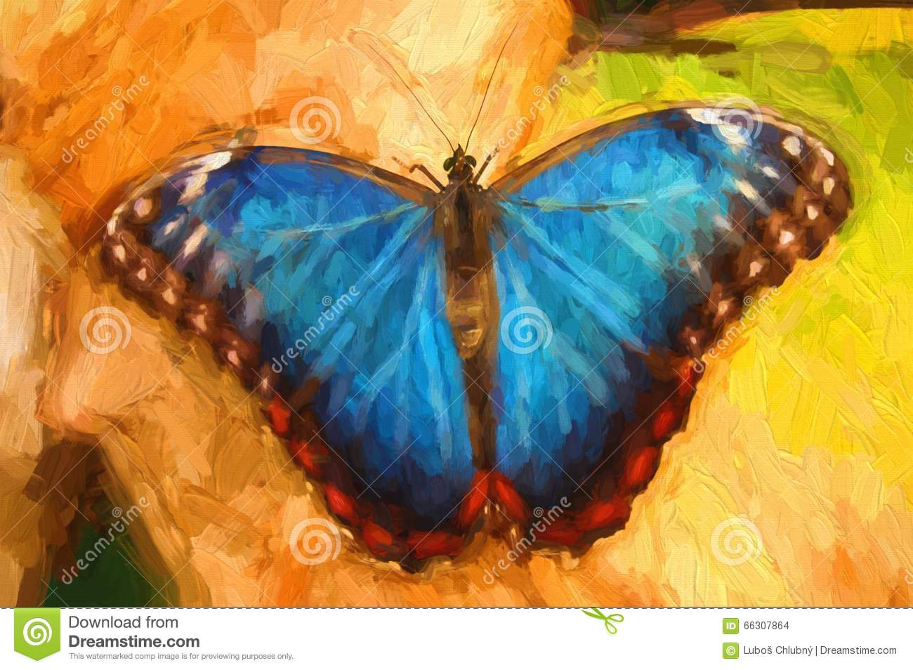 Oil painting blue butterfly