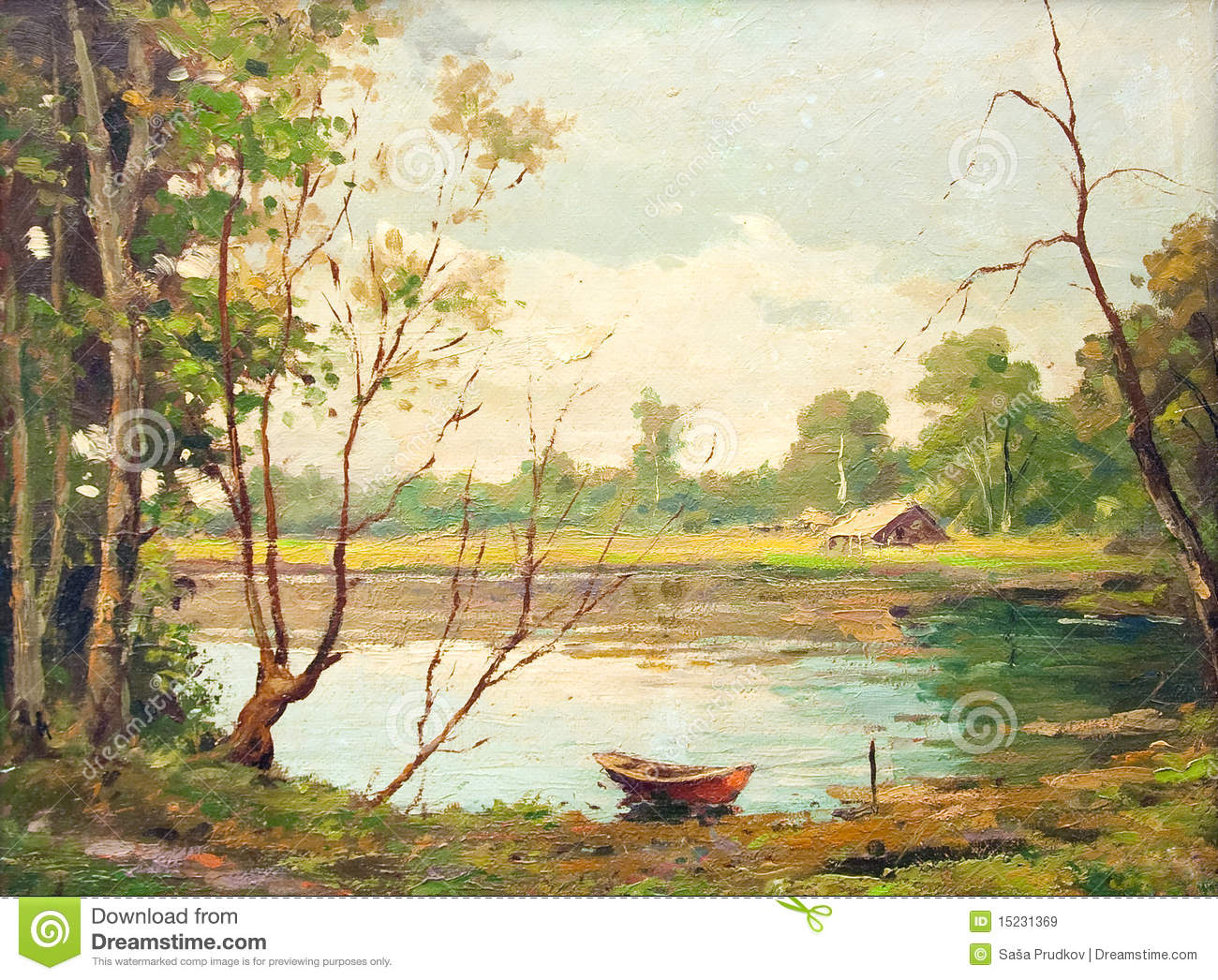... painting showing forest landscape, with boat, lake and a little house