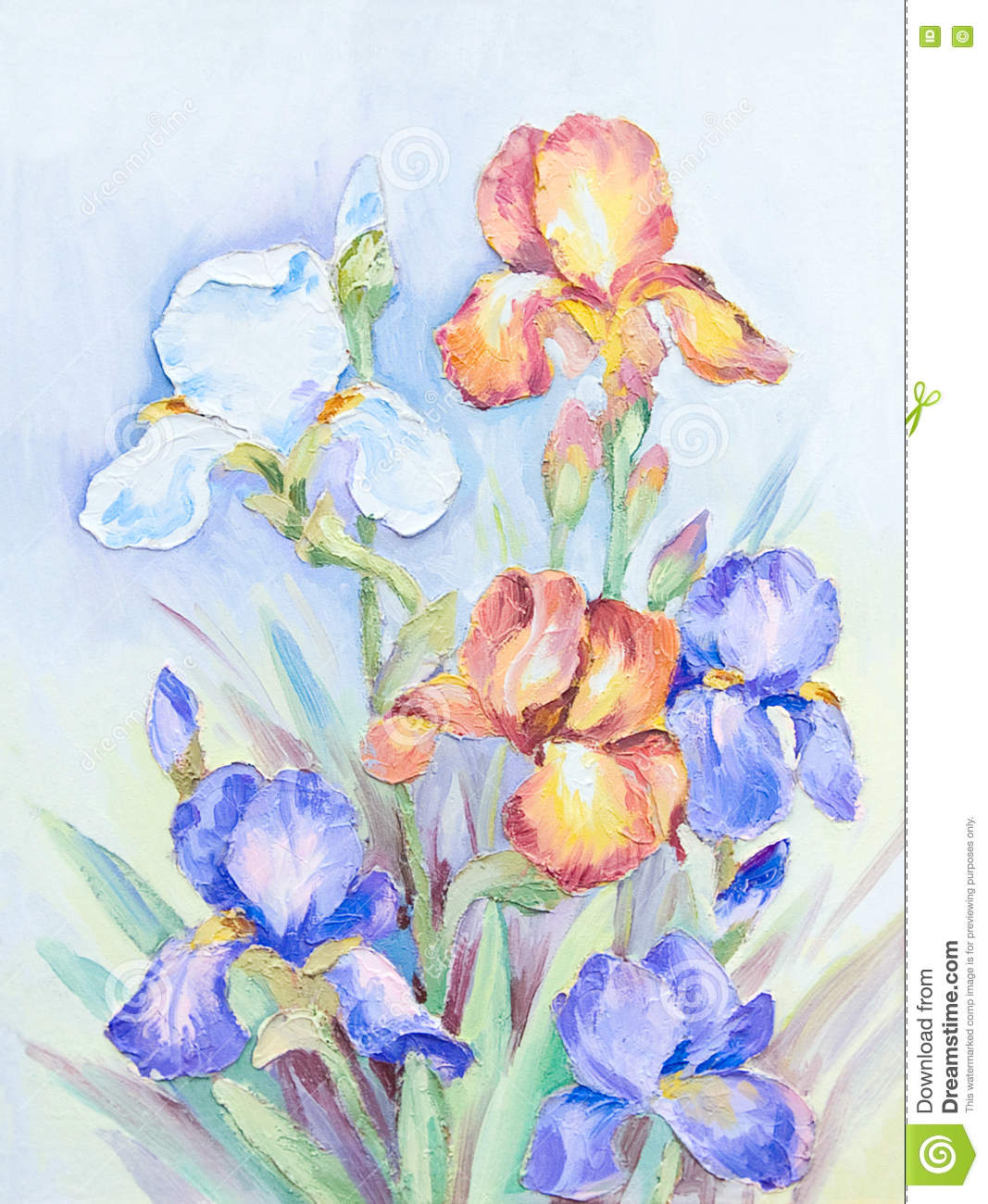 Oil Painting A Bouquet Of Irises On An Abstract Background Stock