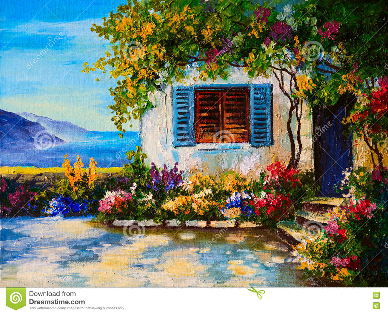 Oil painting on canvas of a beautiful houses near the sea for Oil paintings of houses