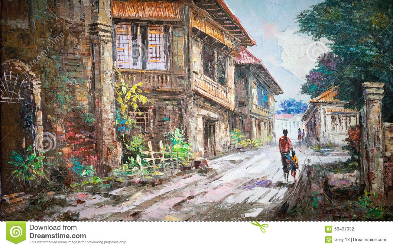 Oil painting on canvas stock illustration image 66437932 for Oil paintings of houses