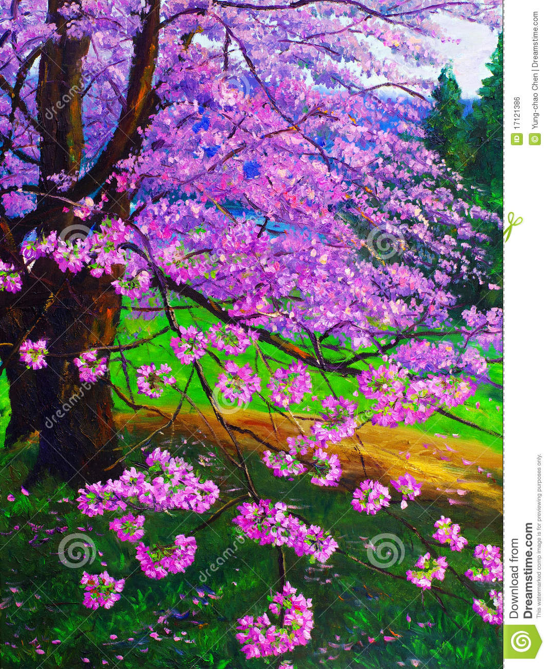 oil painting - cherry royalty free stock image