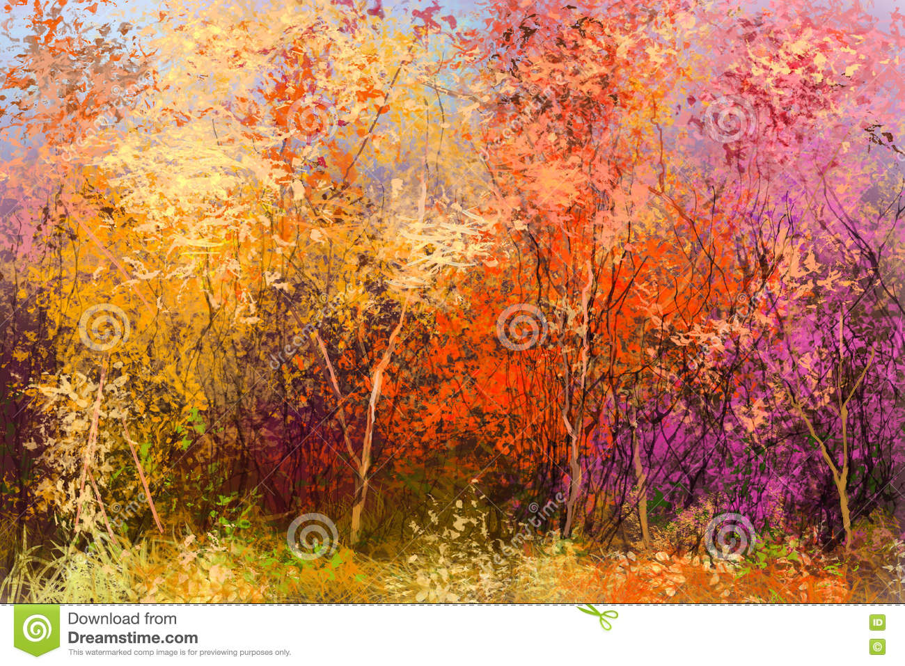 Oil Painting Colorful Autumn Landscape Background Stock ...