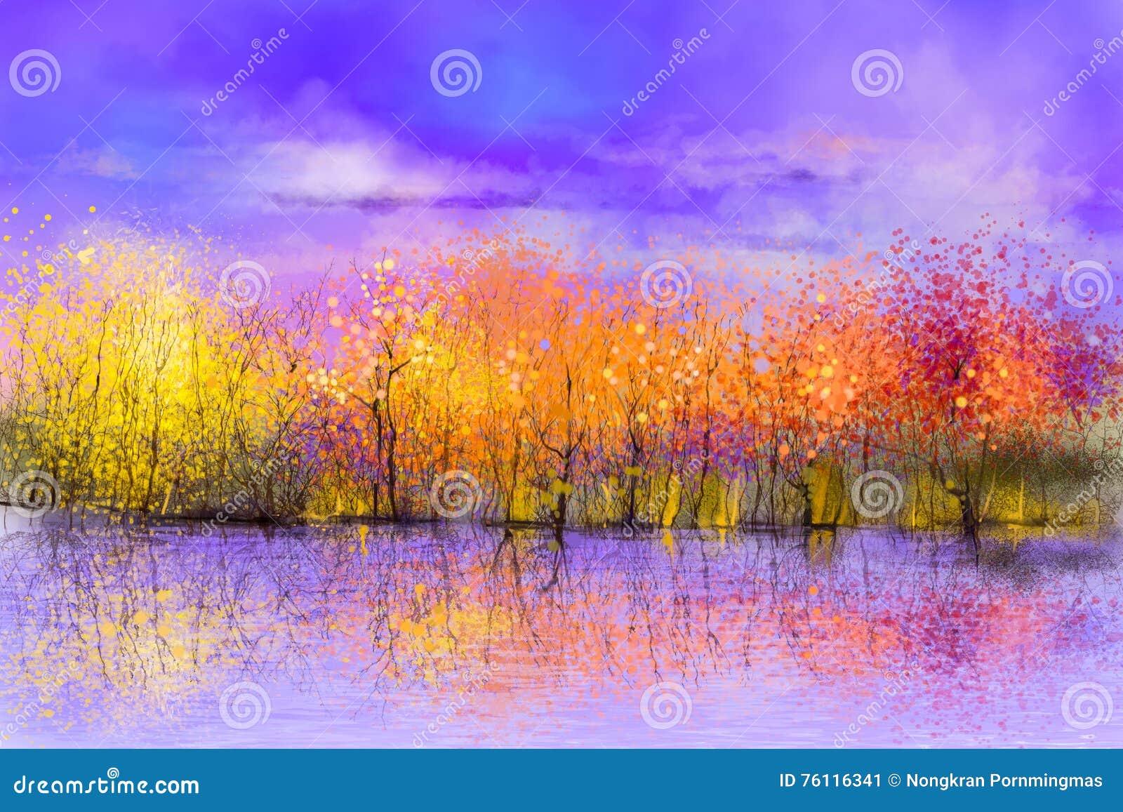Oil painting colorful autumn landscape background