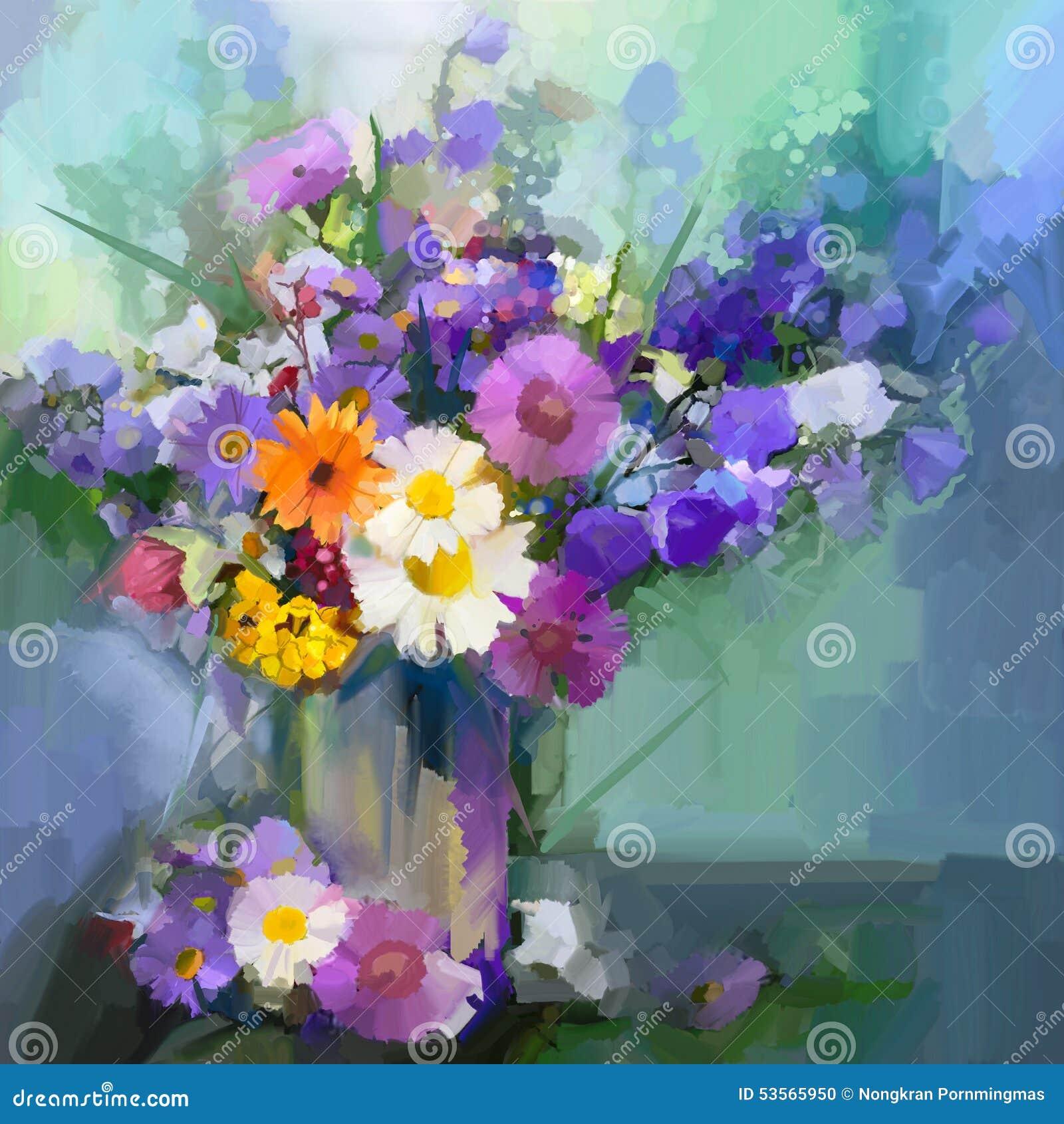 Oil painting daisy flowers in vase stock illustration for Dipinti ad olio fiori