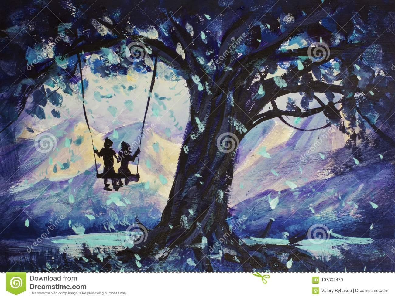 Macro painting fairy tale, abstraction male and girl ride on swing. mountains in background. illustration to book