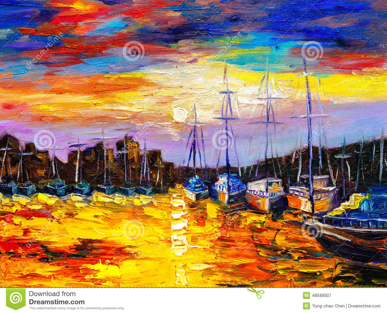 oil painting fishing village stock illustration image