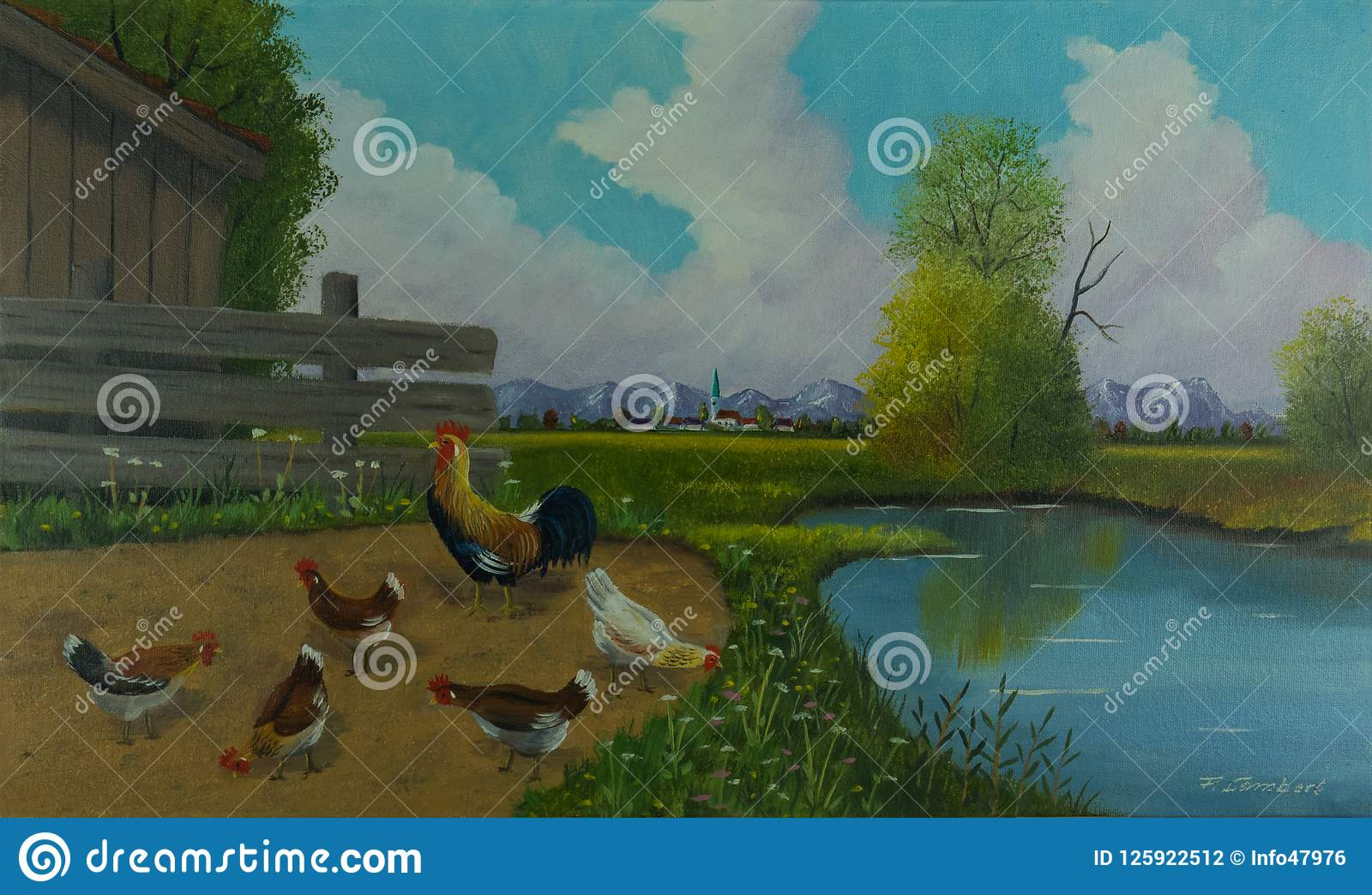 Five chickens and a big faucet beside the water
