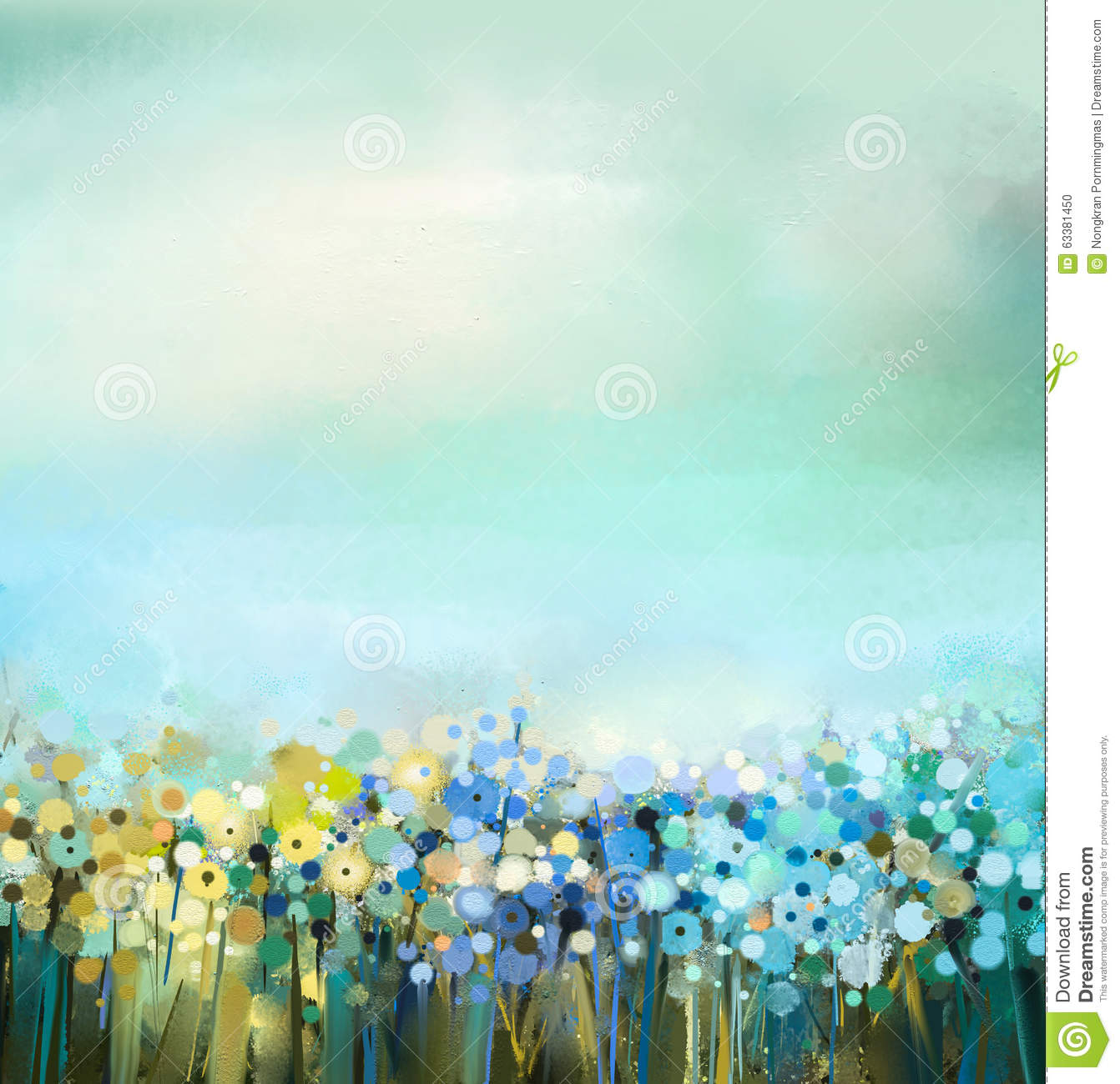 Oil Painting Of Flowers Plant. Dandelion Flower In Fields. Meadow ...