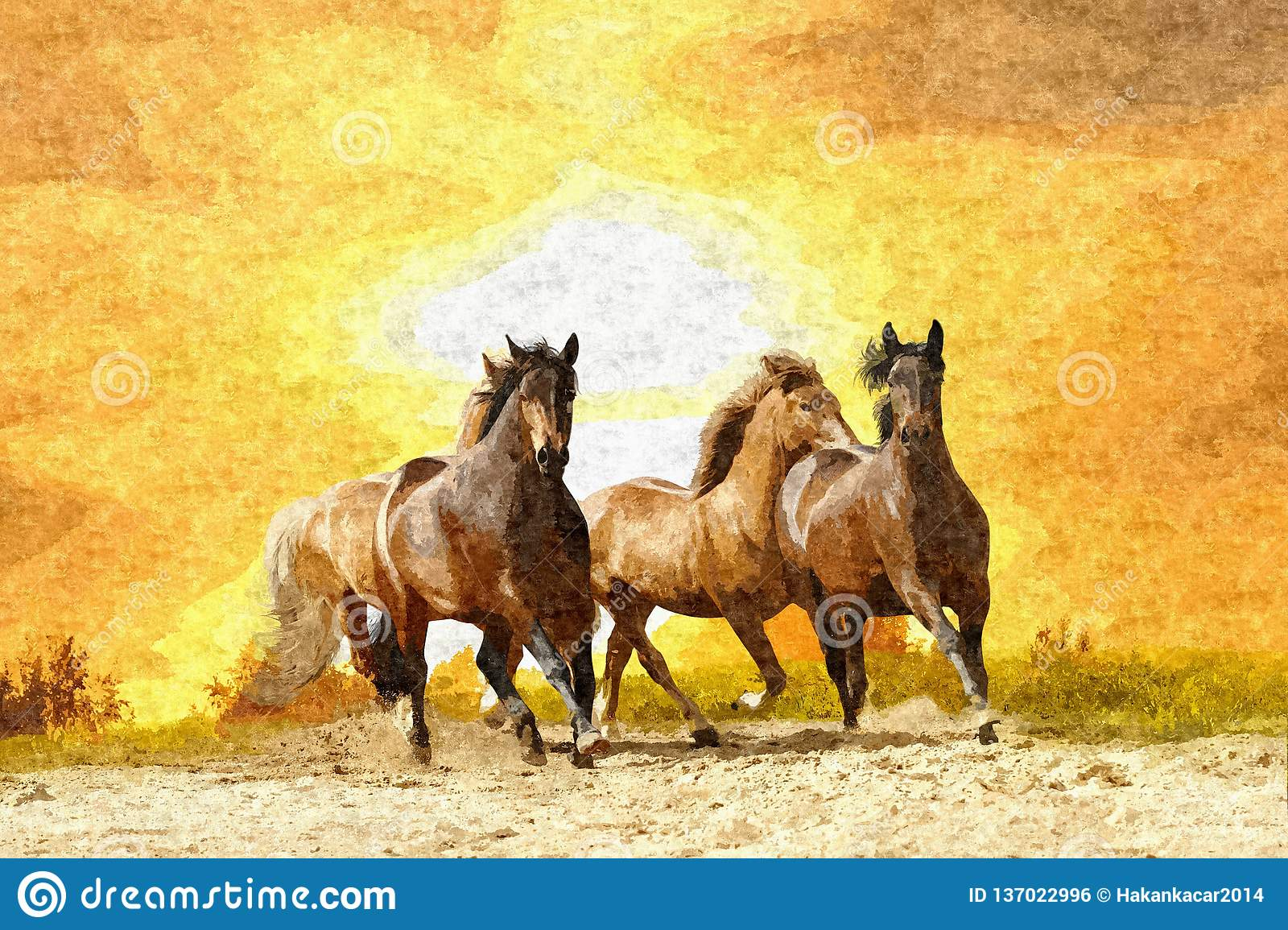 Oil Painting Horse Stock Illustration Illustration Of Color 137022996