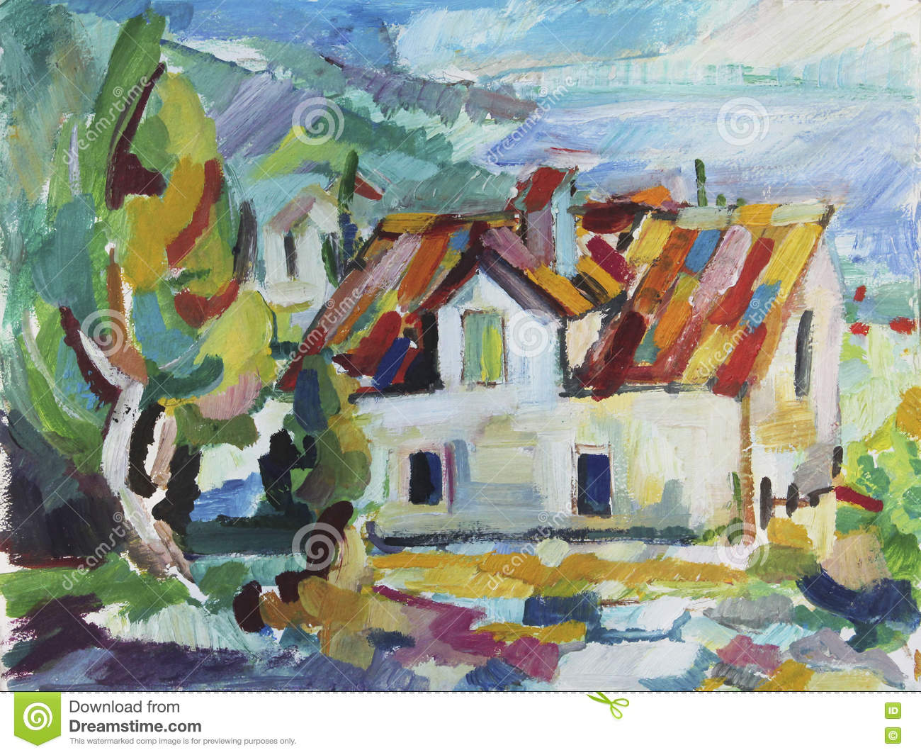 oil painting house near the sea stock illustration image 45981357