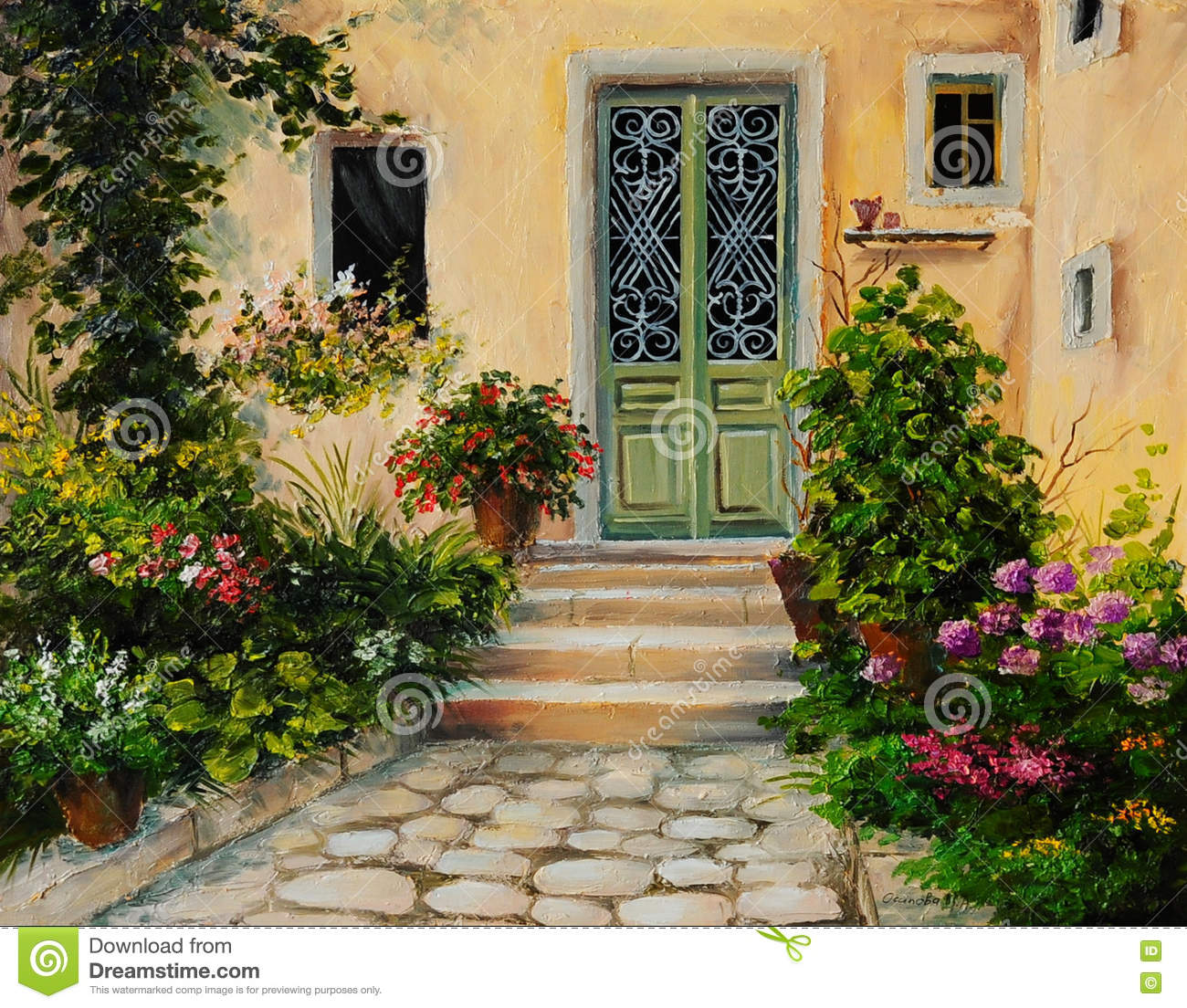 Oil Painting House With Patio Stock Illustration Image 75870133