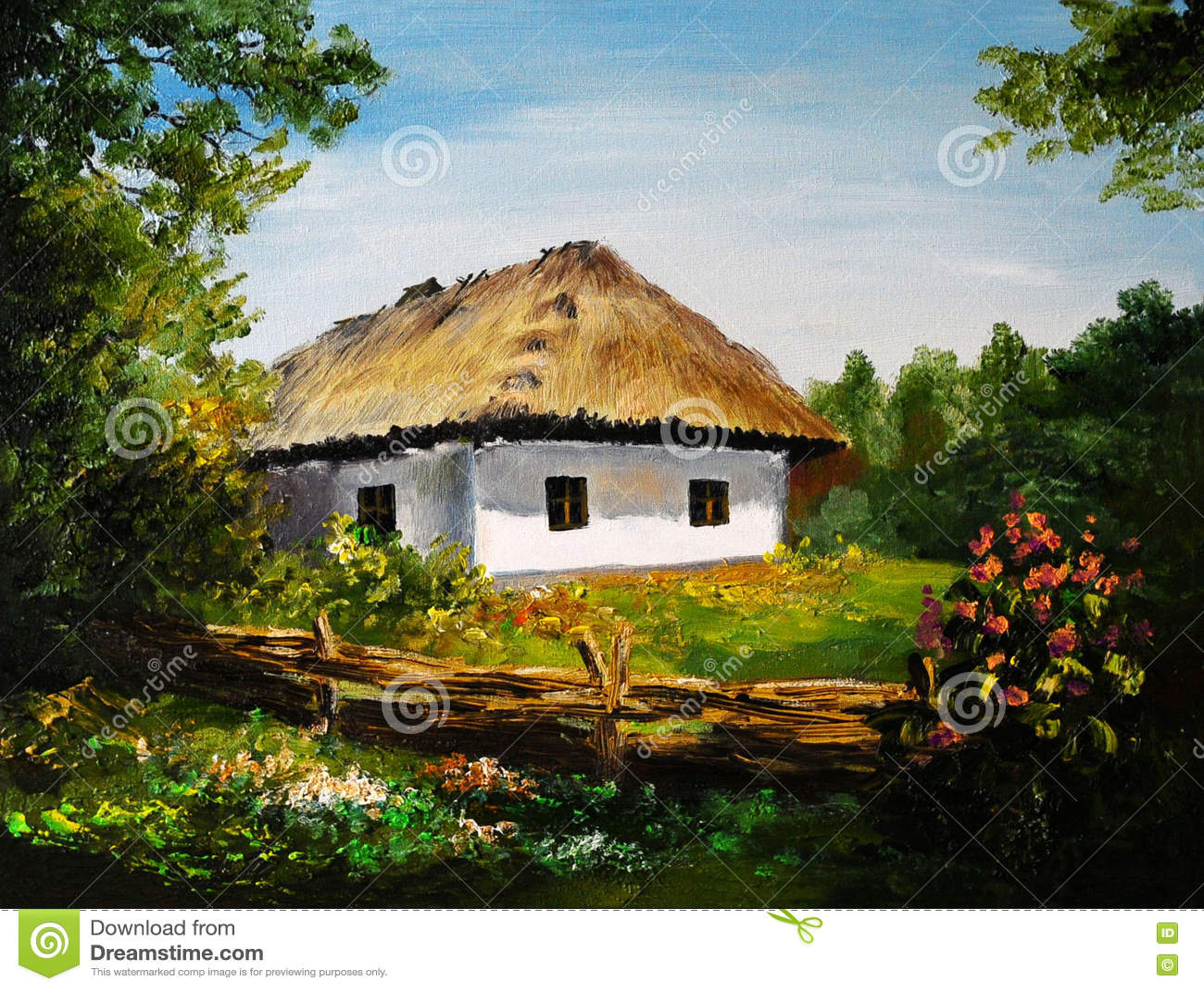 oil painting house in the village art work stock illustration
