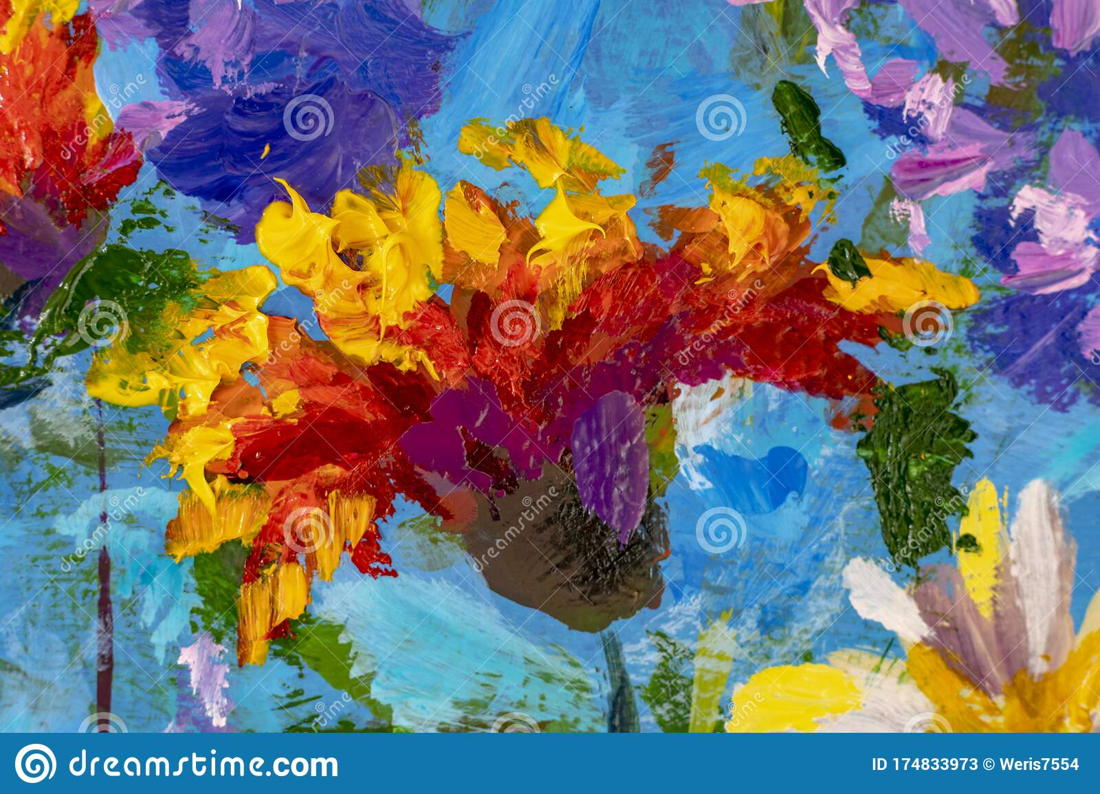 Impressionism Style Flower Painting Still Life Painting Art Canvas By Artist Stock Illustration Illustration Of Canvas Still 174833973