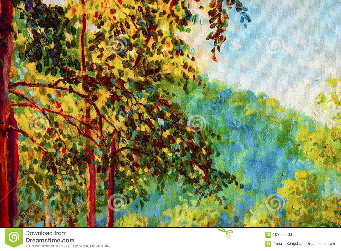 Oil Painting Landscape On Canvas - Colorful Autumn Trees. Stock ...