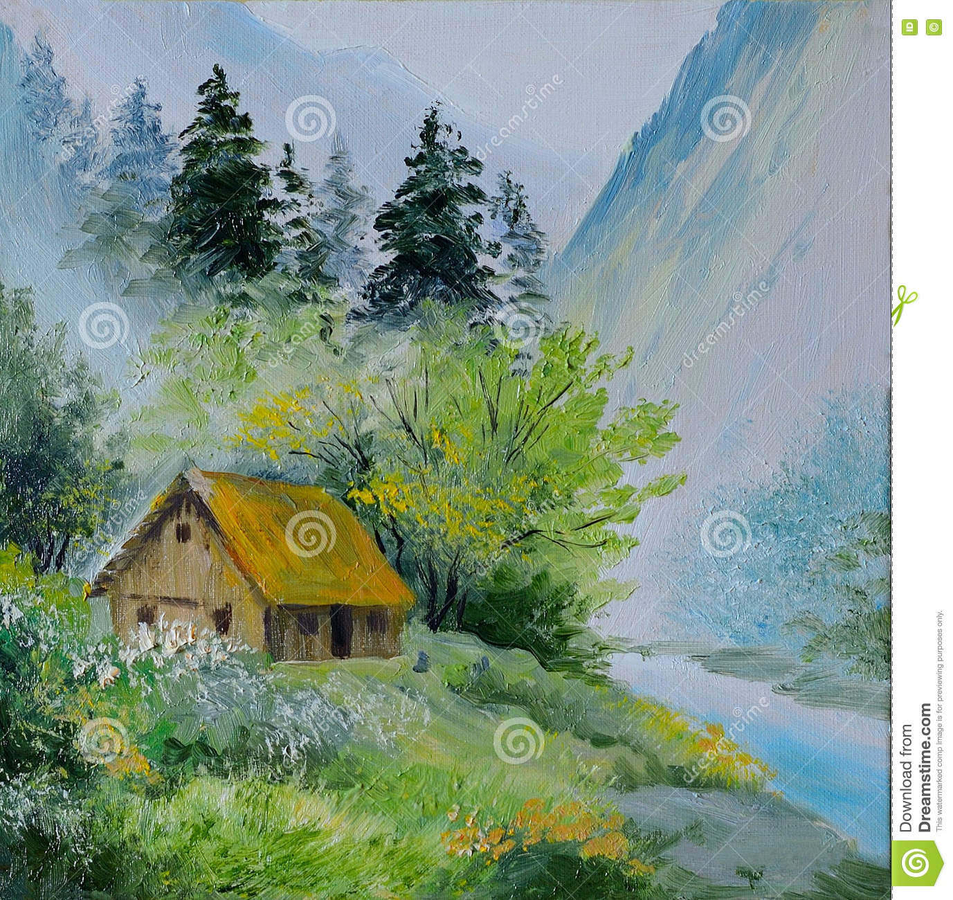 Oil painting - landscape in mountains, house in the mountains and forests near the bridge, abstract drawing, outdoor, wallpaper