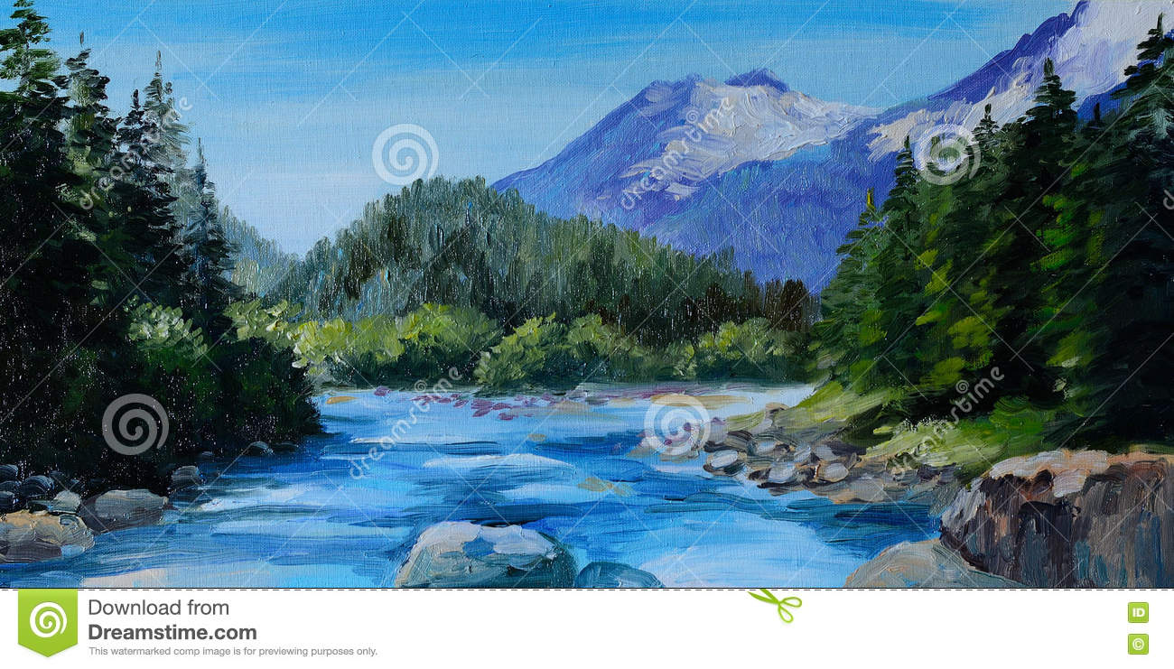 Oil Painting Mountain River Rocks And Forest Abstract